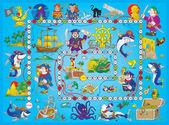 Niebieski piracka gra planszowa. — Zdjęcie stockowe