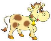 Blass gelbe kuh mit braunen flecken, trägt eine glocke. — Stockfoto