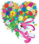 Bunny rabbit carrying a large heart shaped floral bouquet — Stock Photo