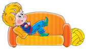 Happy blond boy relaxing and day dreaming on an orange couch — Stock Photo