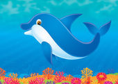 Cute blue dolphin swimming above a colorful coral reef. — Stock Photo