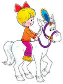 Little blond girl riding a white horse — Stock Photo