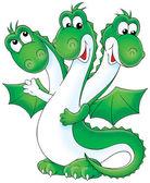 Friendly green three headed dragon — Stock Photo