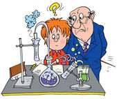Stern science teacher staring at a confused school boy in a science lab — Stock Photo