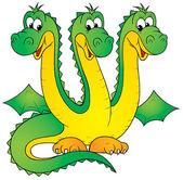 Green three headed dragon — Stock Photo