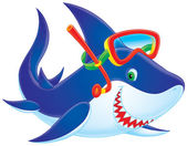 Shark smiling and wearing snorkel gear — Stock Photo