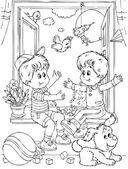 Niños pequeños jugando en un cuarto — Foto de Stock
