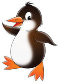 Brown and white penguin doing a happy dance. — Stock Photo