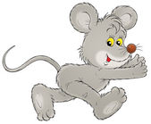Running gray mouse — Stock Photo