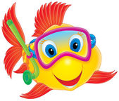 Happy yellow fish with red fish and blue eyes — Stock Photo