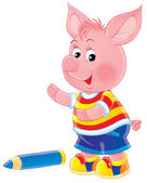 Cute pink piglet boy in clothes — Stock Photo