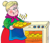 Sweet blond granny taking hot rolls out of an oven — Stock Photo