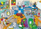 Oficina muy reñida con el desorden — Foto de Stock