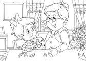 Babcia daje candy girl — Zdjęcie stockowe