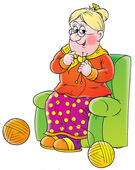 Grandmother sitting in a green chair and knitting — Stock Photo