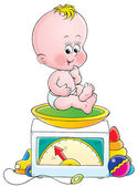 Baby sitting on a body weight scale — Stock Photo