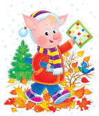 Pink pig school boy in clothes — Stock Photo