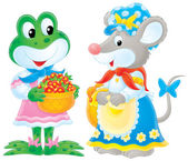 Cute female frog and mouse in clothes — Stock Photo