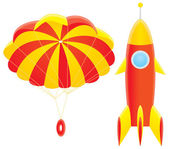 Toy rocket and parachute — Stock Photo