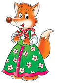 Female fox in a green floral dress. — Stock Photo