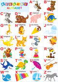 English alphabet for children with funny animals and toys — Stock Photo