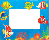 Fish and coral reef frame — Stock Photo