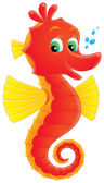 Cute red and yellow seahorse with green eyes — Stock Photo