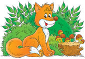 Fox sitting in front of bushes — Stock Photo