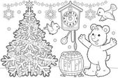 Bear and birds by a christmas tree. — Stock Photo
