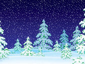 Dark snowing night with flocked evergreen trees. — Stock Photo