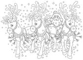 Outlined santa and reindeer sleigh. — Stock Photo