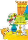 Любопытный оранжевый кот таблицей с цветами — Стоковое фото