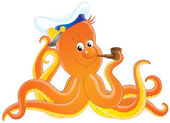Friendly orange octopus smoking a tobacco pipe — Stock Photo