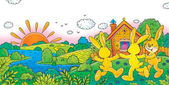 Three happy yellow rabbits dancing — Stock Photo