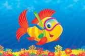 Cute red finned yellow fish — Stock Photo