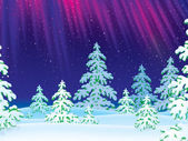 Winter landscape with Polar Lights shining — Stock Photo