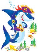 Pirate shark with a sword — Stock Photo