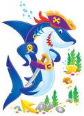 剣を持つ海賊のサメ — ストック写真