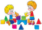 Two brothers playing with toy blocks — Stock Photo