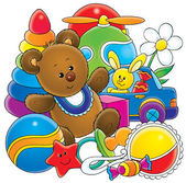 Teddy bear with baby toys — Stok fotoğraf