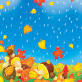 Falling autumn leaves and mushrooms on a rainy day. — Stock Photo