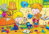 Irmão e irmã brincando com brinquedos — Foto Stock