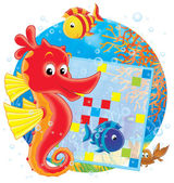 Seahorse with two fish and a crab on a reef — Stock Photo