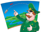 Cartoon officer pointing on map — Stock Photo
