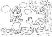Girl and goatling — Stock Photo