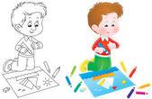 Happy boy coloring a sail boat — Stock Photo