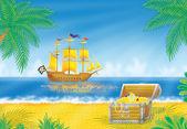 Pirat fartyg utanför kusten — Stockfoto