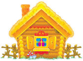 Log home with a straw roof — Stock Photo