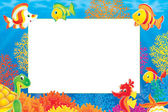 Underwater stationery border of a seahorse — Stock Photo