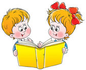 Happy brother and sister reading a yellow book together — Stock Photo